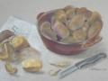 Kartoffeln in brauner Tonschale